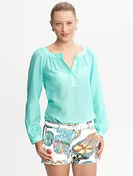 Trina Turk turquoise top | Banana Republic - love the shorts more!