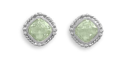 Rhodium Plated Green Amethyst Earrings