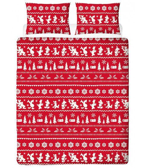 Reindeer Road Brushed Cotton Christmas King Size Duvet Cover Set Red King Size Duvet Covers Duvet Cover Sets Disney Duvet Covers