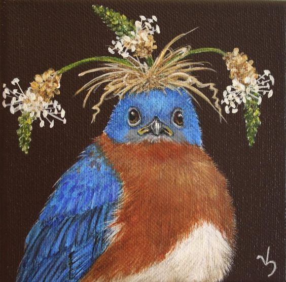 Vicki Sawyer - Available Originals bird with a hat: