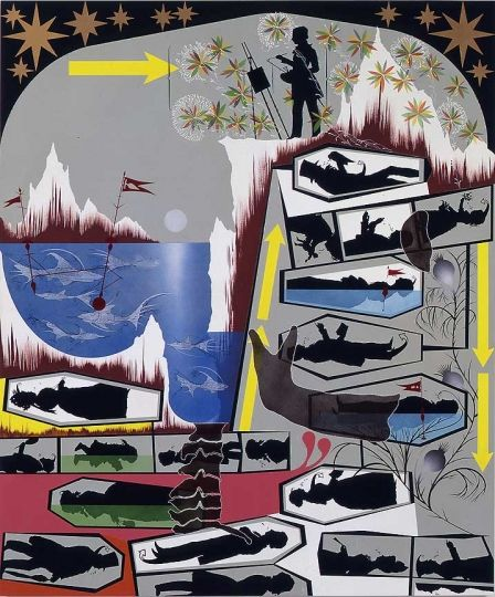"""Lari Pittman, """"This Landscape, beloved and despised, continues regardless,"""" 1989."""