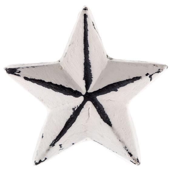 Distressed White Star Metal Knob