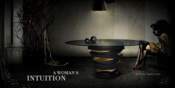 Esstisch Designs koket intuition tisch schwarz gold