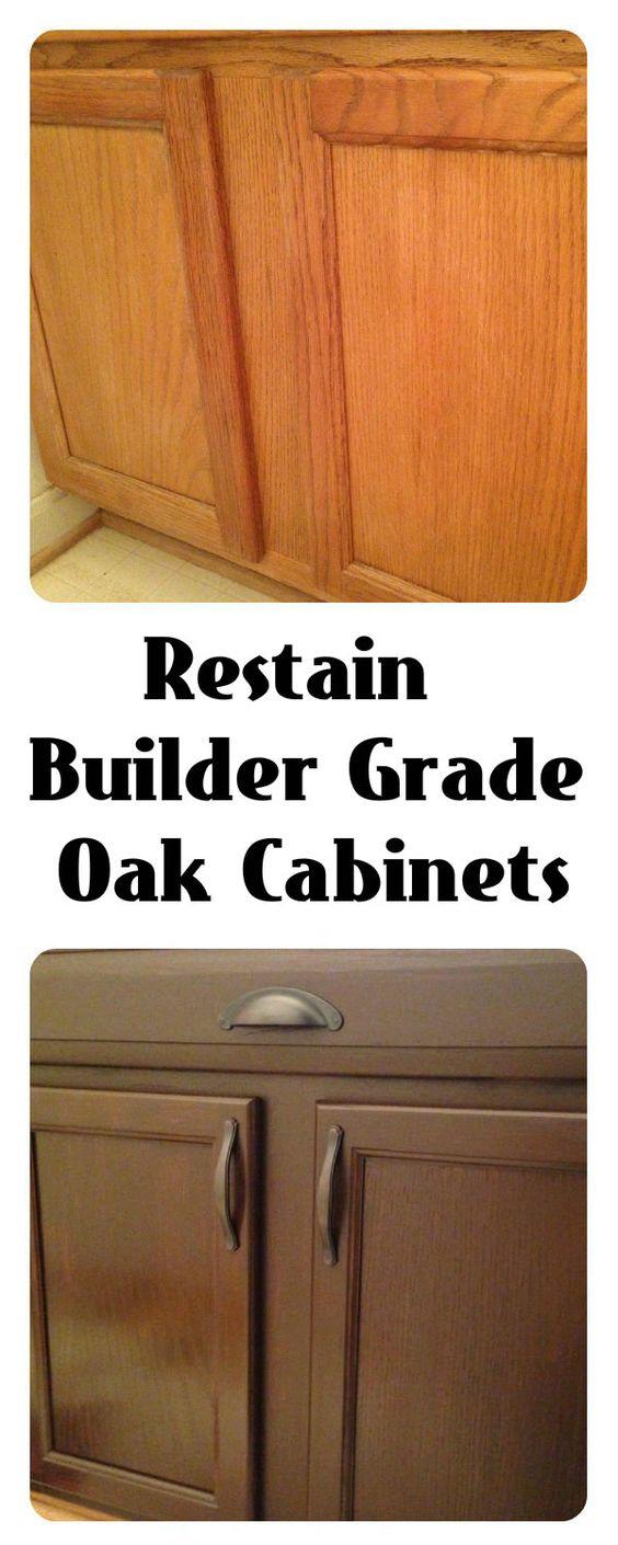 Restain builder grade cabinets general finishes gel stain - Builder grade oak kitchen cabinets ...