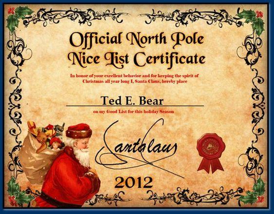 Nice list certificate christmas 2015 for rowan for Nice list santa letter