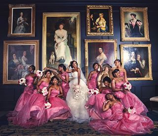 The amount of life that is given in this single picture is incredible! Mariyam and her bridesmaids are SERVING in their gowns! This wedding was featured in our last issue and on our blog! ----- Photo: @nadiadphoto  #munaluchibride #munabride #Munaluchi #weddingwednesday #pinkwedding #nigerianwedding