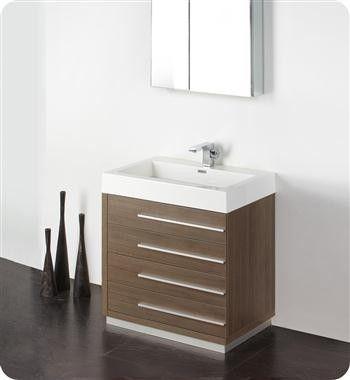 Fresca Livello 30 x 19 Gray Oak Modern Bathroom Vanity ...