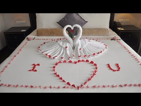 How To Make Towel Art Towel Origami Swans Towel Folding Diwali Decoration Ideas Youtube Towel Origami Diwali Decorations Diy Towels