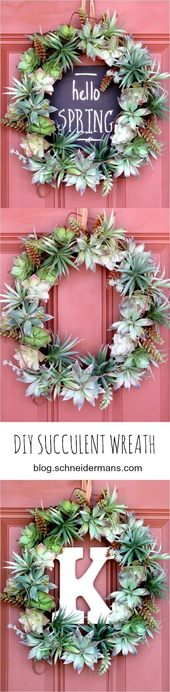 Spring Door Wreath Ideas Part - 27: Spring Door Decor Inspiration + A DIY Wreath Using Faux Succulents (3 Ways)  Via