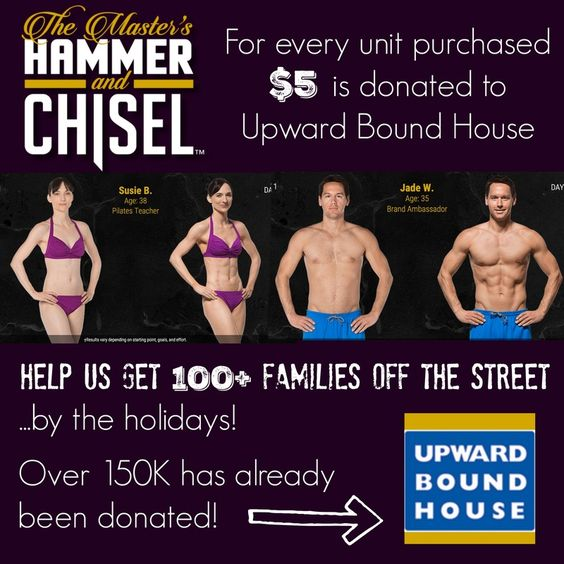 Hammer and Chisel is here! For every unit sold, Beachbody is donating $5 to Upward Bound House to get homeless families off the streets in time for the holidays! Our goal is 100 families but the sky is the limit. This program was launched 2 days ago and we've already donated enough to get over 30 families situated in a home this month. I'm so beyond proud to be part of such a wonderful organization!