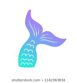 Mermaid Tail Vector Graphic Illustration Hand Drawn Teal Turquoise Blue And Purple Violet Mermaid Fish Tai Imagenes De Sirenas Sirena Letra Cola De Sirena