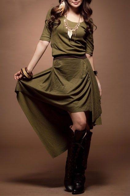 The dress crafted in cotton, featuring elegant medium waistline, round neckline, medium contrast coffee elastic waistline, medium skirt design with irregular cut hemline.