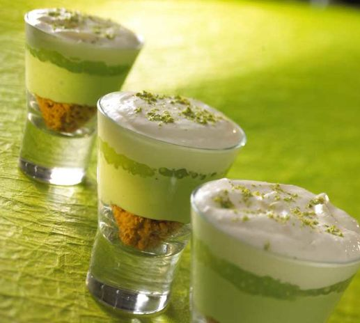 Party ideas: pistachio pie shooters -- I'm in love!