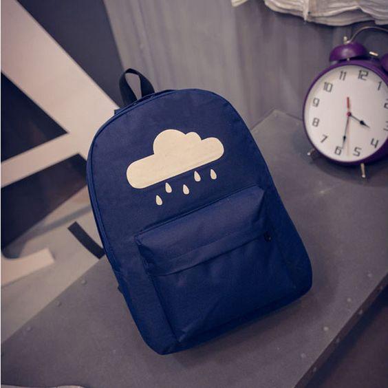 2016 Fashion Canvas Backpack Teenage Girls Schoolbag Harajuku Cute Rainbow Cloud Black Bag Students Rucksack mochila XA812H
