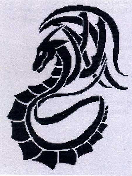 Tribal Dragon Cross Stitch Pattern - Simple, but striking. A single-color pattern based on artwork by Skyler Larson. The Design measures 150 stitches wide by 199 stitches high.<BR>