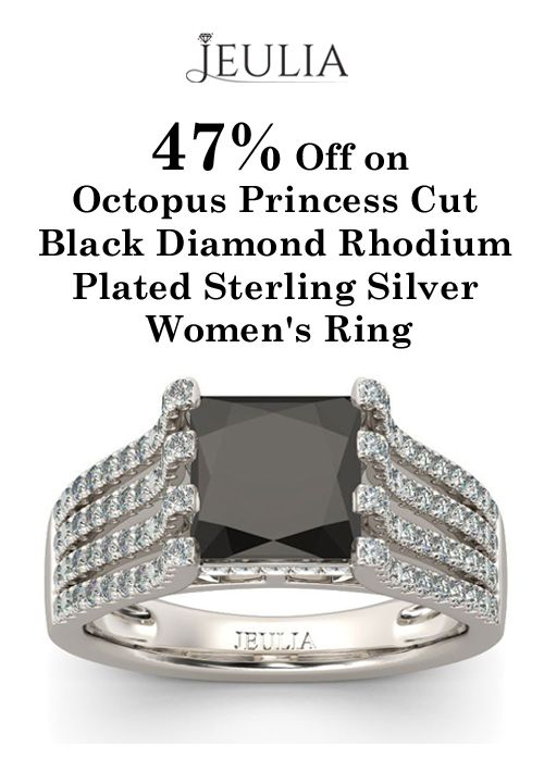 JUELIA is offering 47% discount on Octopus Princess Cut Black Diamond Rhodium Plated Sterling Silver Women's Ring. Place your order now and avail this offer.  For more Jeulia Coupon Codes visit:   http://www.couponcutcode.com/stores/jeulia/
