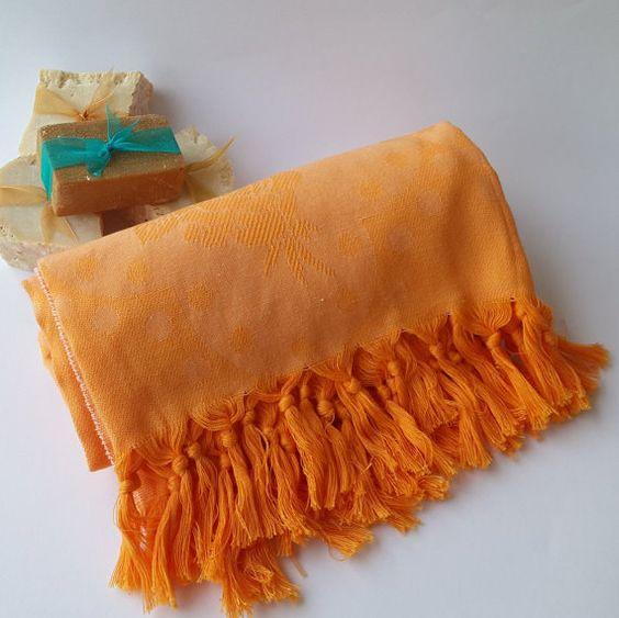 ORANGE TOWEL Orange Bath Towel Cotton Turkish by aegeanseashop