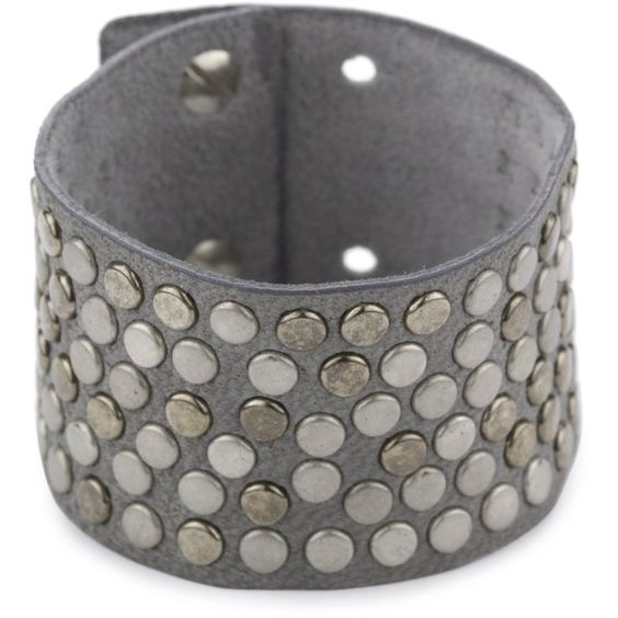 """Streets Ahea0d 1.5"""" Grey Leather Studded Cuff Bracelet with Ultra Suede ($52) found on Polyvore"""