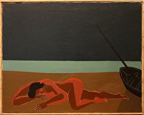 """Beach Scene (Sleeping Woman),? 1954, an early piece by H.C. Westermann"