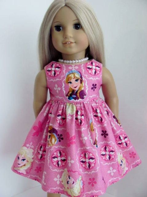 Frozen Inspired Pink Glittered Doll Dress for the American Girl Doll by TheWhimsicalDoll2