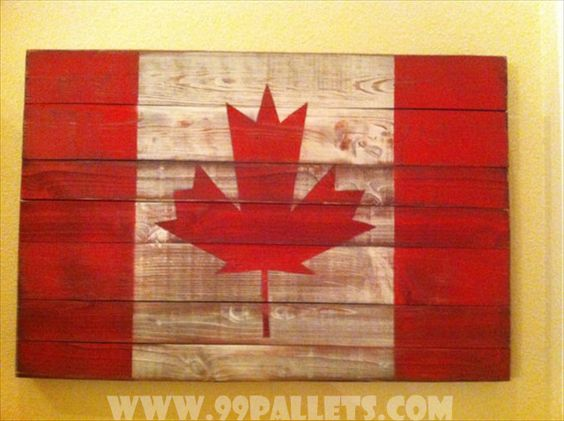 20 DIY Pallet Art Flag Ideas: 30 x 20 Canadian Flag