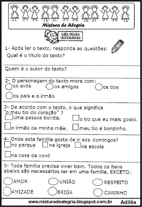 Avaliacao De Historia E Geografia Sobre A Familia Para