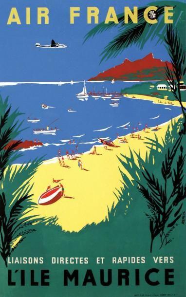 Vintage Travel Poster - Liaisons directes et rapides vers l'île Maurice - illustration de Renluc - 1954 - (Air France).