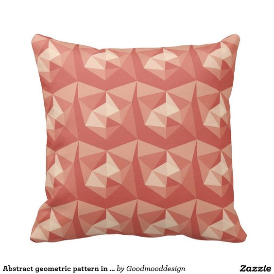 Abstract geometric pattern in red tones throw pillow