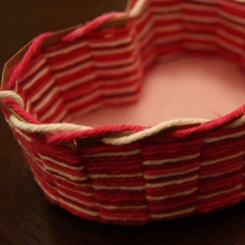 step-by-step blog tutorial for making a heart-shaped yarn basket