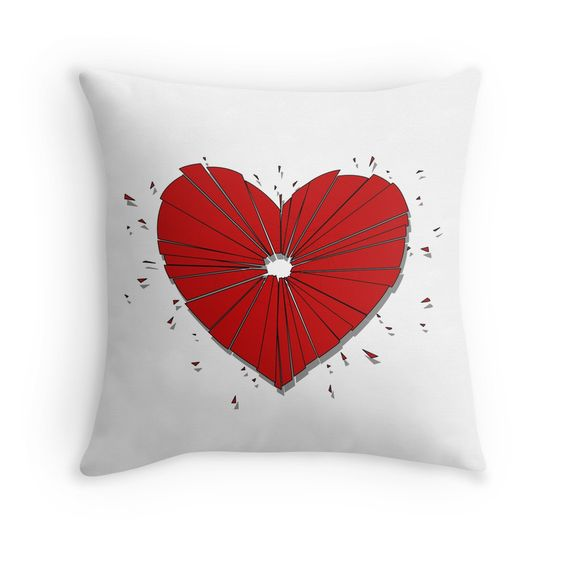 """Heartshot"" Throw Pillow by Savousepate on Redbubble #throwpillow #pillow #homedecor #heartshot #brokenheart #heart #love #red #white"