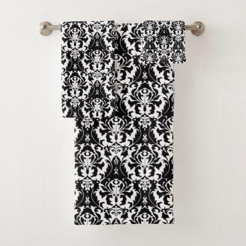 Elegant Black White Damask Bath Towel Set White Damask Bath