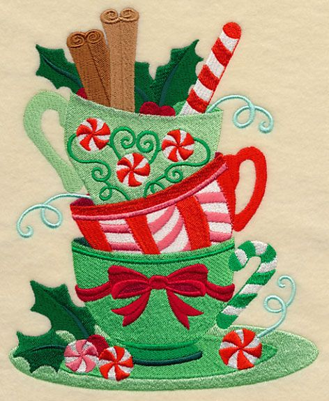 Christmas Teatime Teacup Stack