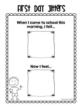 First day emotions first day of school activities and for First day jitters coloring page