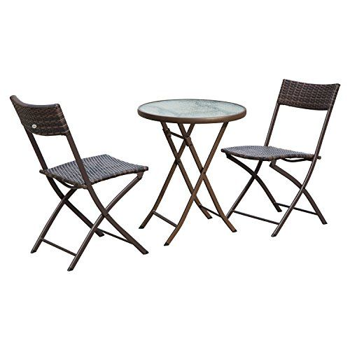 Outsunny Ensemble Salon De Jardin 2 Places Table Ronde Pliable Plateau Verre Trempe Chaises P Mobilier De Jardin Design Ensemble Salon De Jardin Chaise Pliante