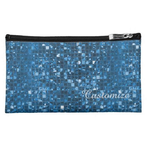 Sparkling Blue Mosaic Pattern Cosmetics Bag | Available In Dark Orange, Blue, & Purple