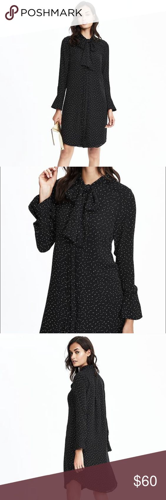 BNWT Banana Republic speckled tie neck dress Sz S Brand new with tags Banana Republic speckled tie neck dress. Gorgeous dress. Black with little white dots. Tie neck (or leave it open). Never worn! Size small. Banana Republic Dresses Long Sleeve