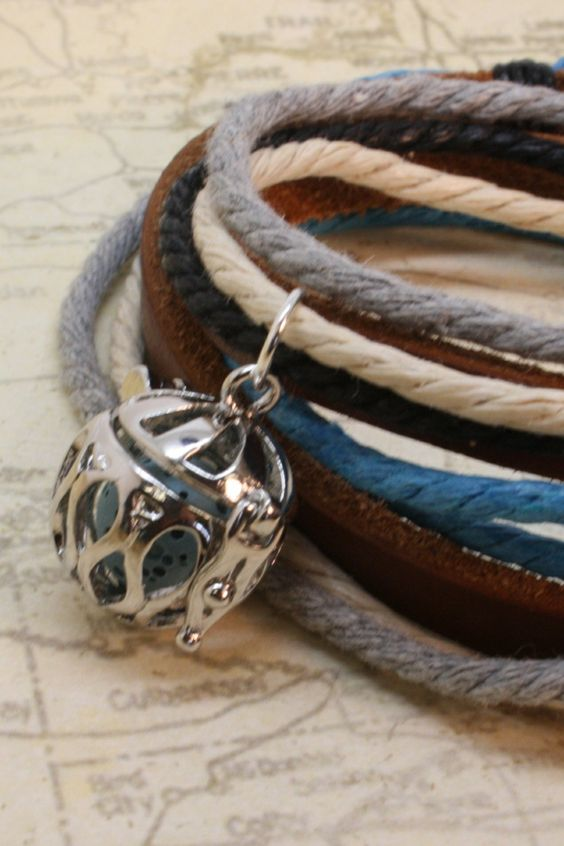 """Seaside"" Leather Wrap Diffuser Bracelet/ Choker Necklace"