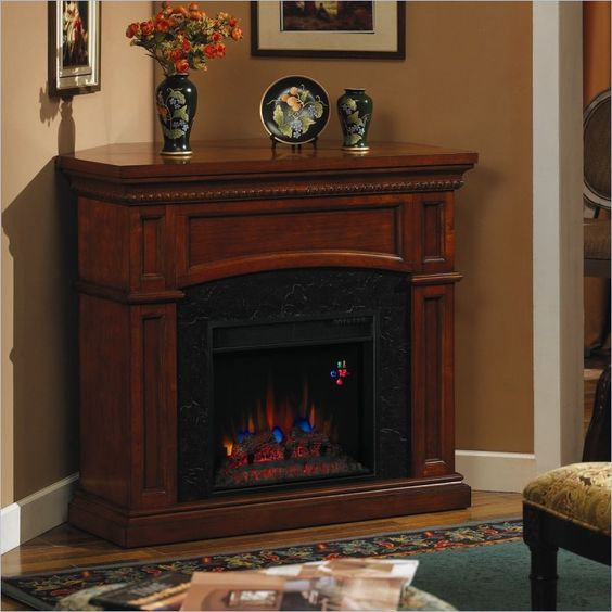 Corner Style Electric Fireplaces | Classic Flame Nantucket Corner Electric  Fireplace in Golden Cherry . - Corner Electric Fireplace, Nantucket And Electric Fireplaces On
