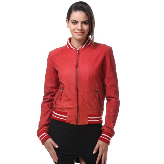 Buy online #RED COLOR CLASSIC #LEATHER BOMBER #JACKET @ voganow ...