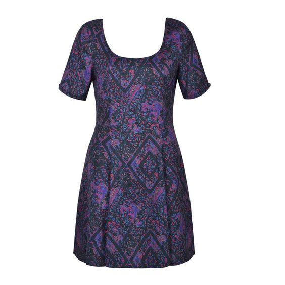 DARK PAISLEY FIT AND FLARE DRESS
