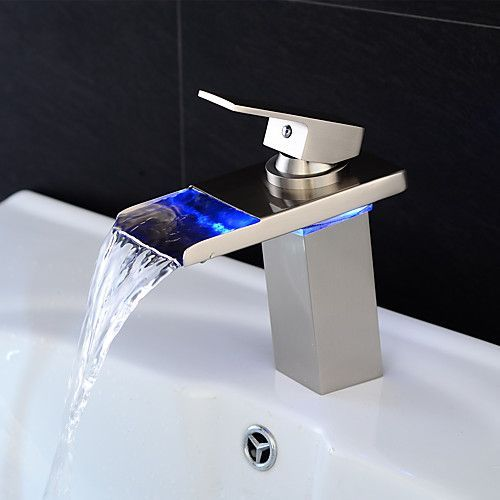 Bathroom Sink Faucet Waterfall Led Nickel Brushed Centerset Single Handle One Holebath Tap Led Faucet Bathroom Sink Faucets Bathroom Sink Faucets Waterfall