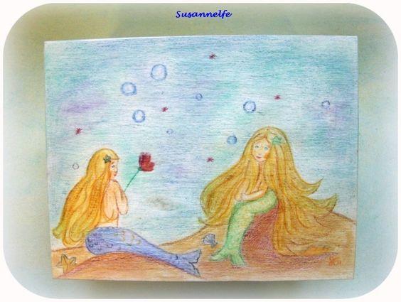 Holzkiste Meerjungfrauen Jahreszeitentisch von Susannelfes Blumenkinder  auf DaWanda.com
