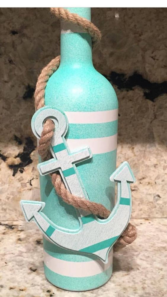 Coastal/nautical anchor home decor wine bottle