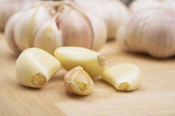 Raw garlic on the counter