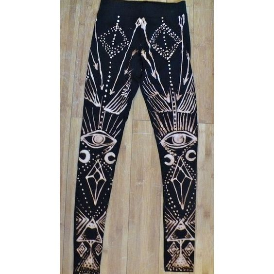 Arrows Eyes Leggings Bleach Black Cotton Quartz Crystal Point Wings... ❤ liked on Polyvore featuring leggings