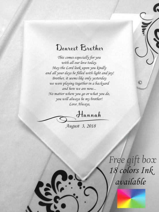 Wedding Gifts For Brother Ideas Dad Wedding Gift Personalized Handkerchief Wedding Wedding Gifts For Groom