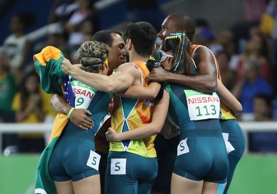 Members of Brazil celebrate their team's silver medal in the Women's 4x100m - T11-13 Final on day 7 of the Rio 2016 Paralympic Games at the Olympic Stadium on September 14, 2016 in Rio de Janeiro, Brazil.