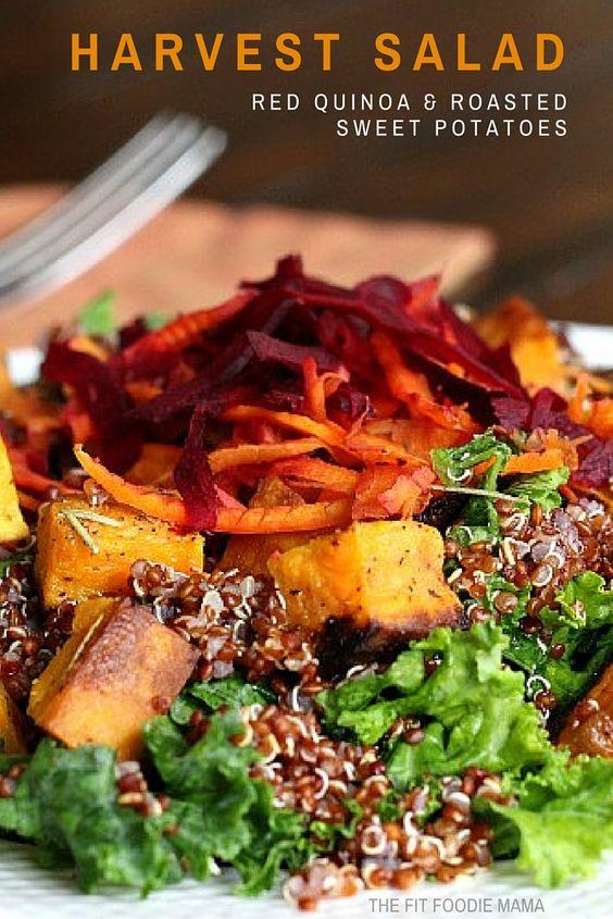 Red Quinoa & Roasted Sweet Potato Salad Recipe {Harvest Salad, Gluten Free, Vegan, Meatless Monday Meal}