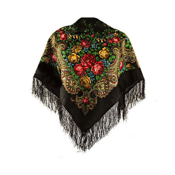 Katerina gypsy shawl with silk knitted long fringe ($60) ❤ liked on Polyvore featuring accessories, scarves, fringe scarves, tie scarves, long shawl, floral shawl and tying long scarves