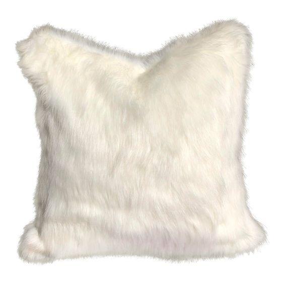 Boho Chic White Faux Fur 24 Feather Down Pillow Custom Made Faux Fur Pillow White Faux Fur Fur Pillow